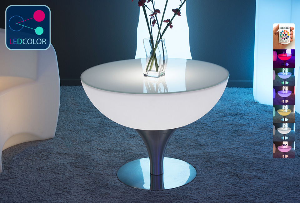Table basse lumineuse led multicolore steel moon - Table basse avec led ...