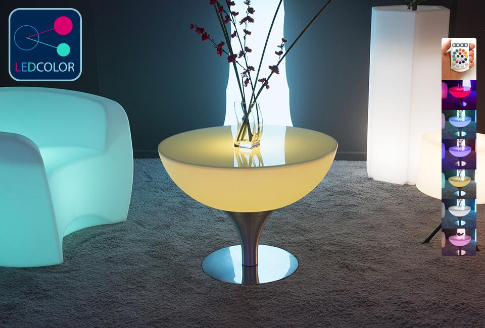 Table Basse Lumineuse Led Multicolore Steel Moon