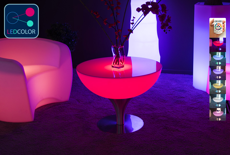 table basse lumineuse led multicolore sans fil steel moon. Black Bedroom Furniture Sets. Home Design Ideas