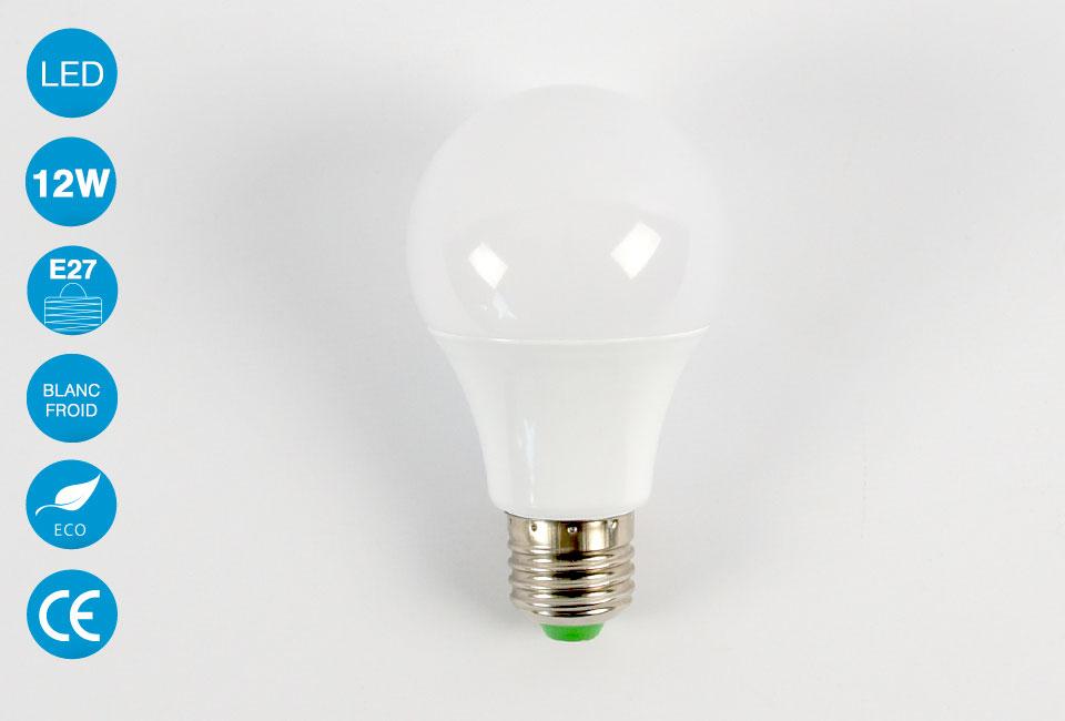 ampoule led e27 12 watts blanc froid prix usine. Black Bedroom Furniture Sets. Home Design Ideas