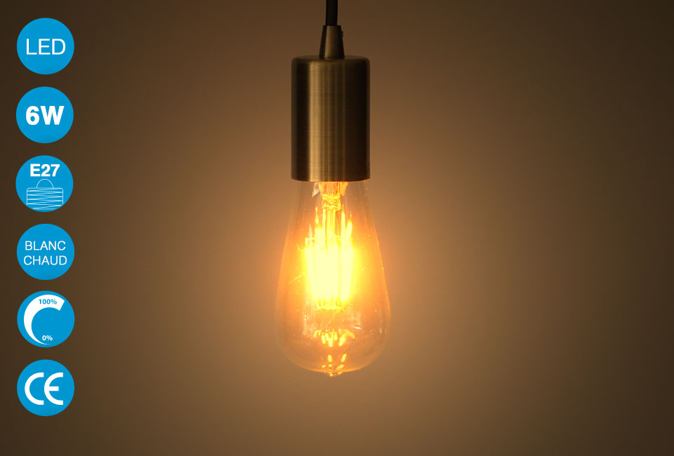 ampoule led vintage edison 6w blanc chaud st64 prix. Black Bedroom Furniture Sets. Home Design Ideas