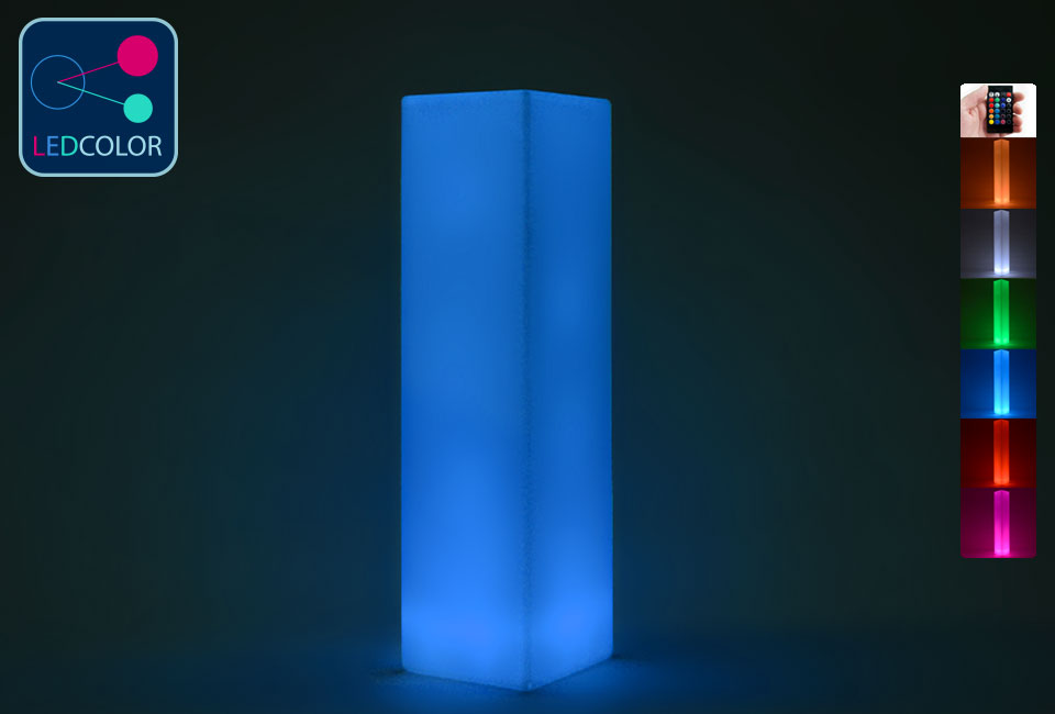 colonne lumineuse led multicolore sans fil square m. Black Bedroom Furniture Sets. Home Design Ideas