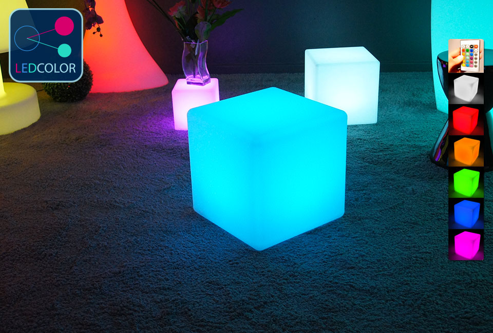 cube lumineux solaire multicolore sans fil cube led 40. Black Bedroom Furniture Sets. Home Design Ideas