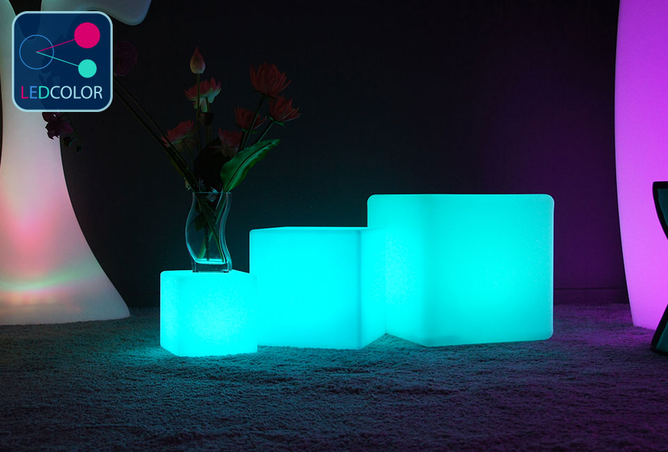 Cube Lumineux Multicolore Sans Fil  Cube Led  Cm