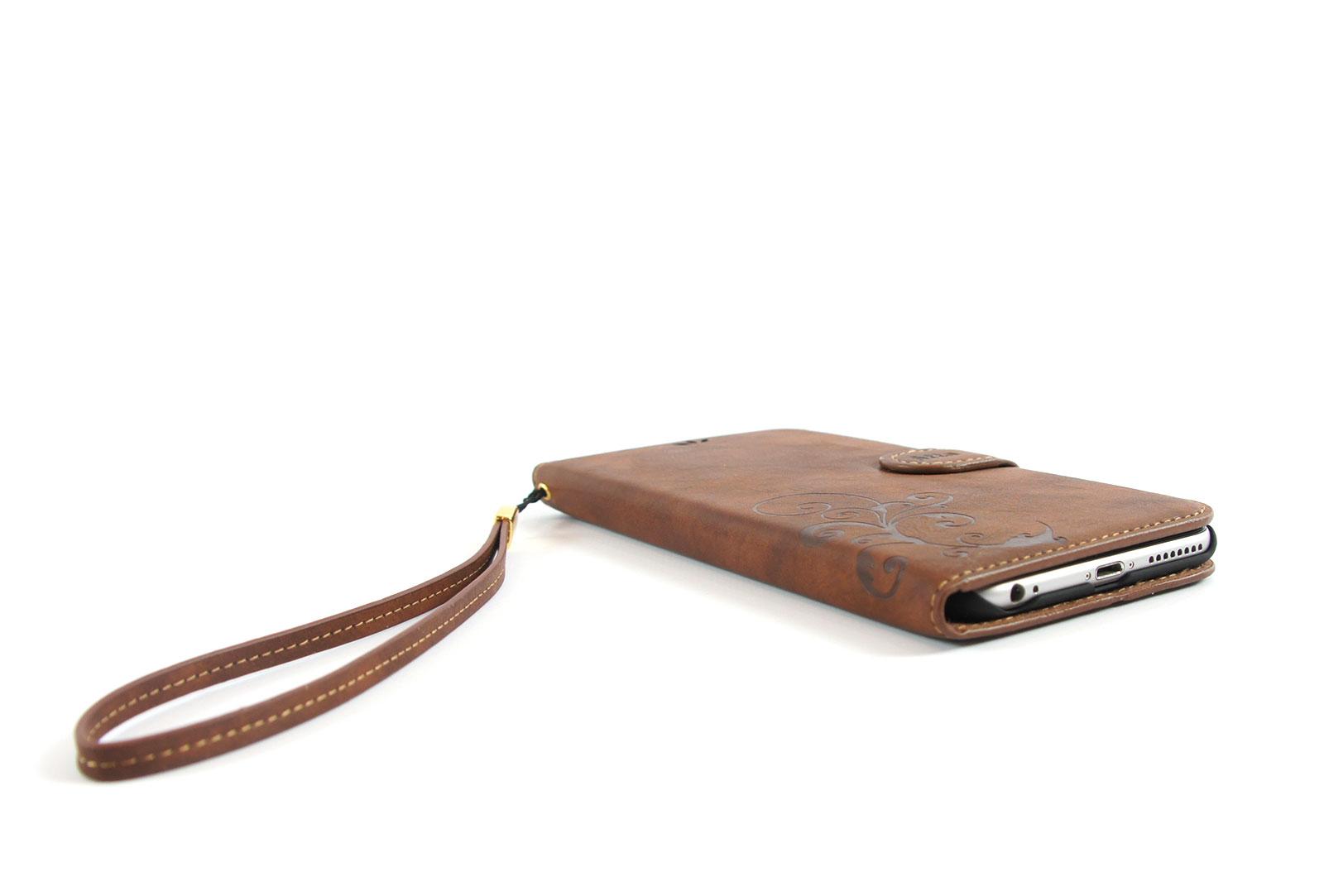 tui portefeuille en simili cuir marron pour iphone 6s et iphone 6. Black Bedroom Furniture Sets. Home Design Ideas