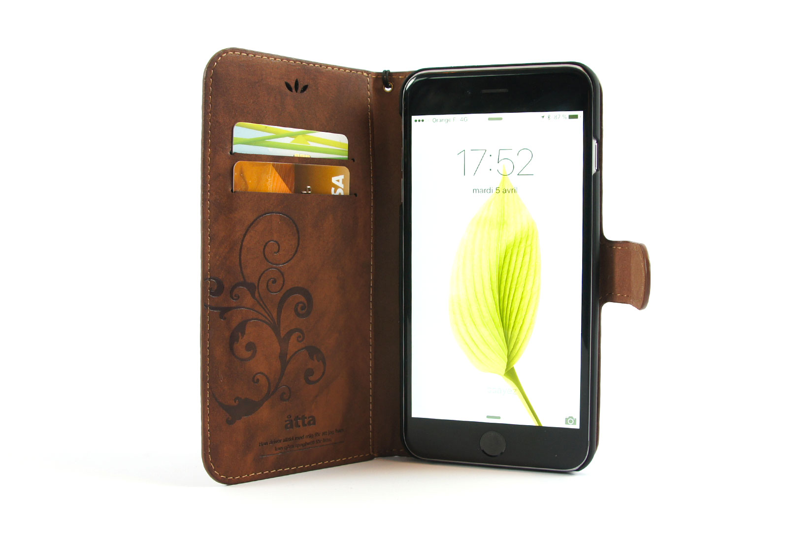 Tui portefeuille en simili cuir marron pour iphone 6s et for Etui iphone 6 portefeuille