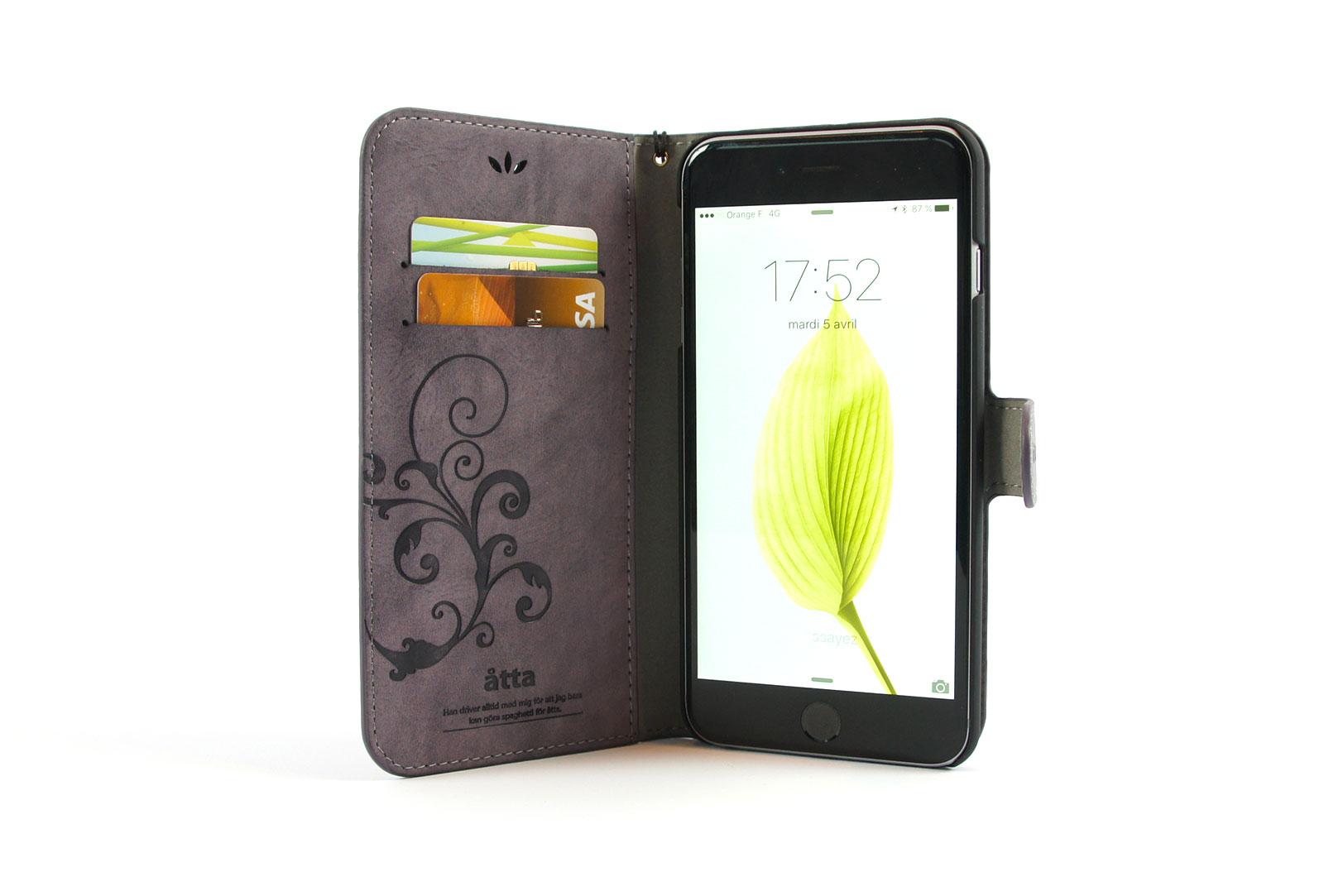 tui portefeuille en simili cuir violet pour iphone se iphone 5 et iphone 5s. Black Bedroom Furniture Sets. Home Design Ideas