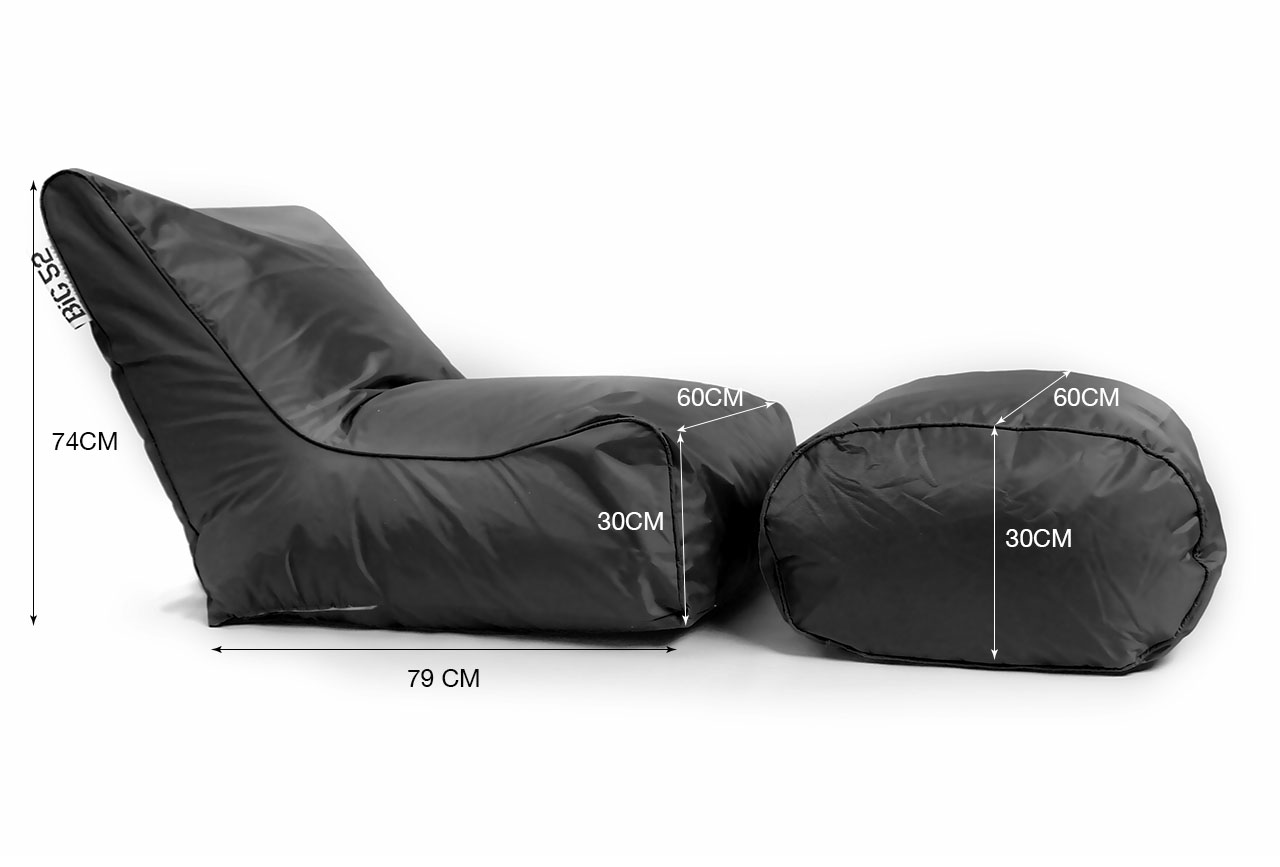 fauteuil pouf big52 noir avec repose pieds 75. Black Bedroom Furniture Sets. Home Design Ideas