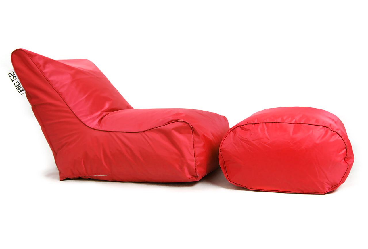 fauteuil pouf big52 rouge avec repose pieds. Black Bedroom Furniture Sets. Home Design Ideas
