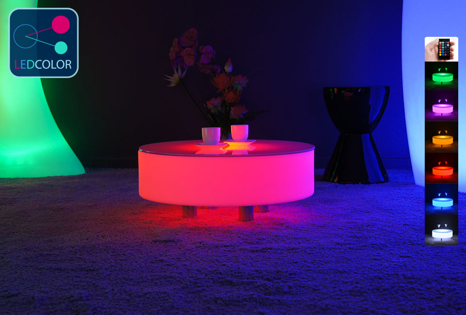Table basse lumineuse lounge multicolor led - Table basse a led pas cher ...