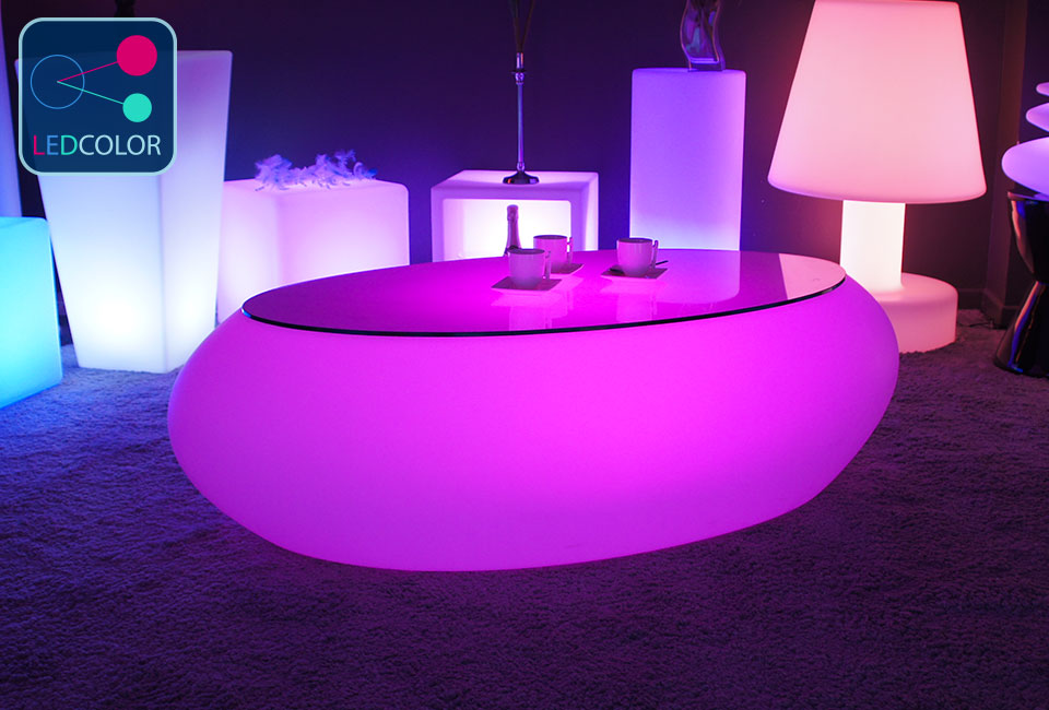 Table basse lumineuse led multicolore stone - Table de jardin lumineuse ...