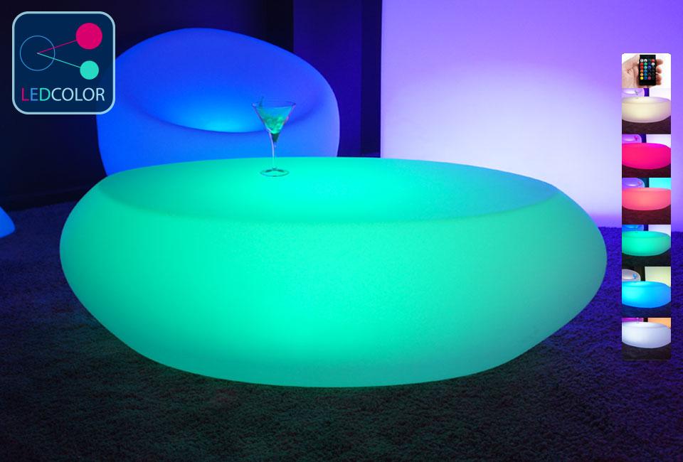 table basse lumineuse led multicolore sans fil stone. Black Bedroom Furniture Sets. Home Design Ideas