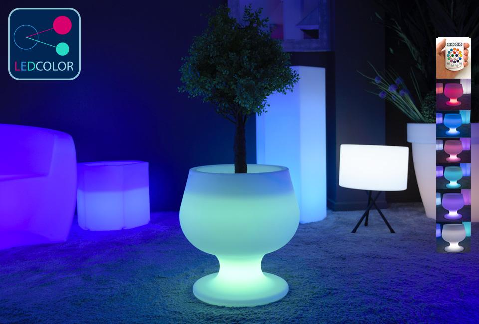 pot de fleurs lumineux solaire led multicolore sans fil cup 50. Black Bedroom Furniture Sets. Home Design Ideas