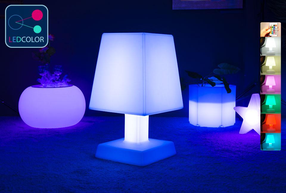 Lampe poser carr aba xl led sans fil multicolore 60 - Lampe led multicolore ...