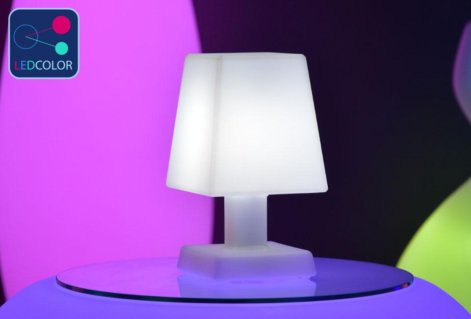 Lampe poser carr aba s led sans fil multicolore 60 - Lampe led multicolore ...