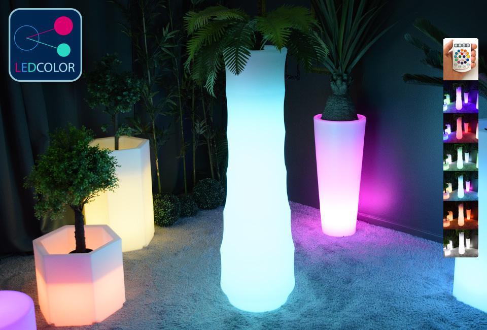 pot de fleurs lumineux solaire led multicolore bamboo 30. Black Bedroom Furniture Sets. Home Design Ideas