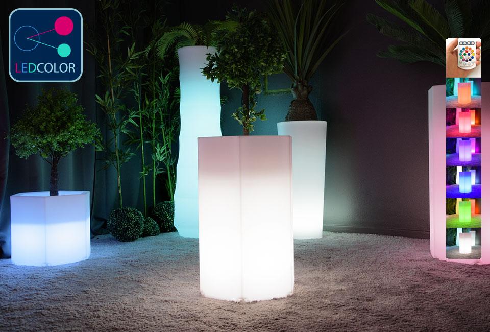 pot de fleurs lumineux led multicolore exagone m 50. Black Bedroom Furniture Sets. Home Design Ideas