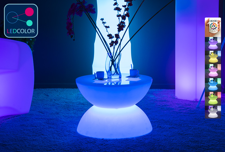 table basse lumineuse led multicolore sans fil full moon. Black Bedroom Furniture Sets. Home Design Ideas