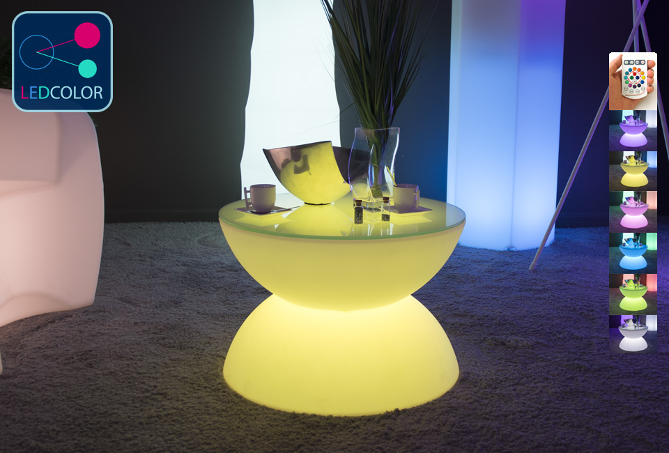Table basse lumineuse led multicolore sans fil full moon - Table basse multicolore ...