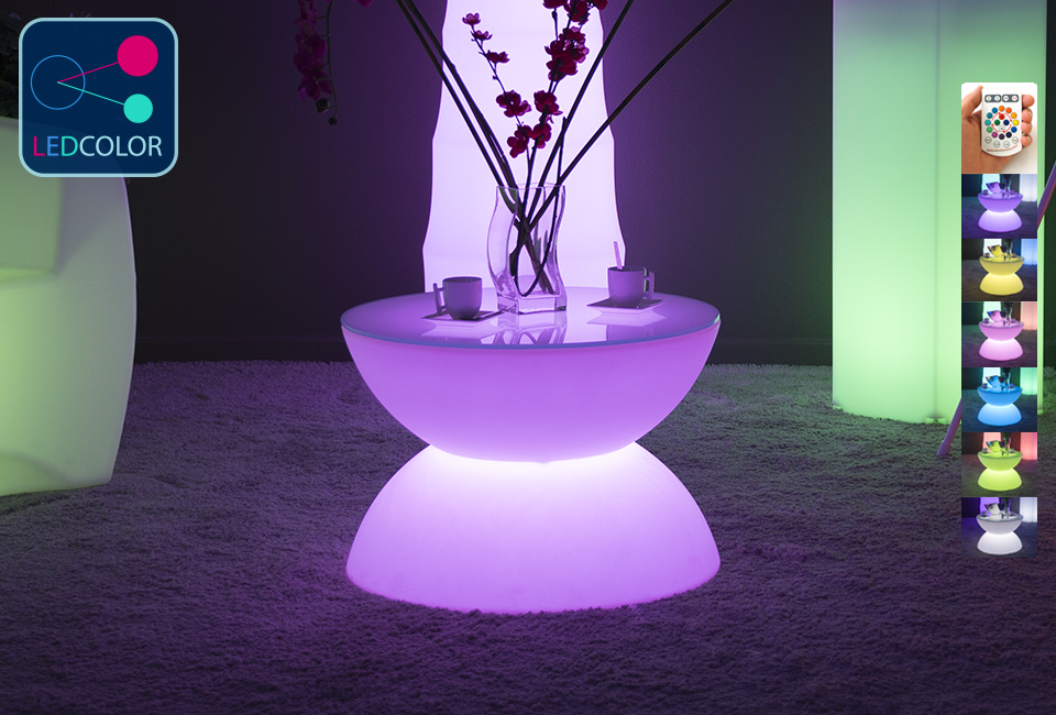 Table basse lumineuse led multicolore sans fil full moon - Table basse lumineuse led moonlight ...
