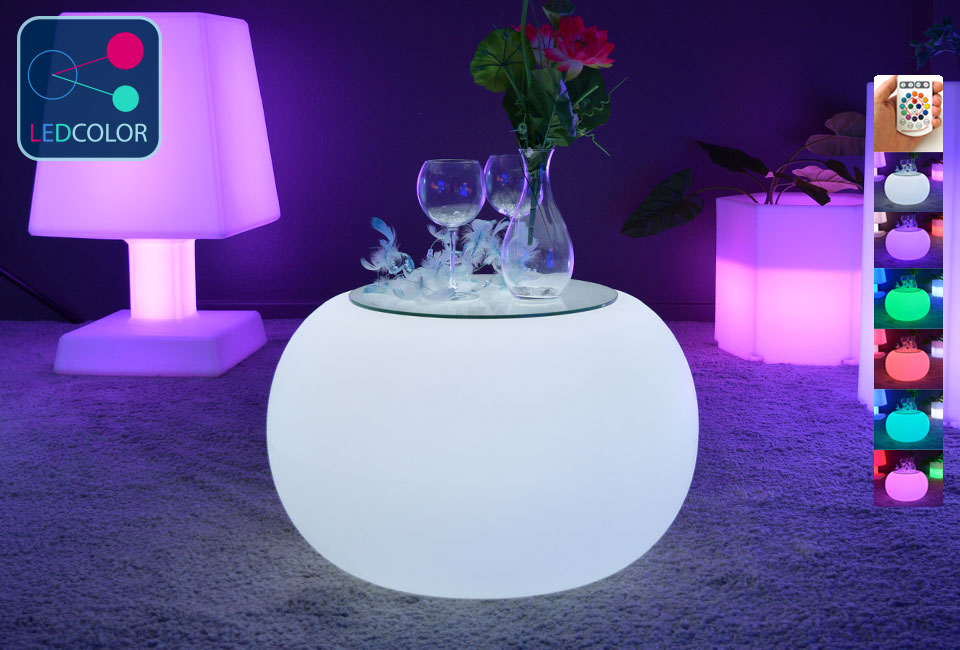 table basse lumineuse led multicolore sans fil round s. Black Bedroom Furniture Sets. Home Design Ideas