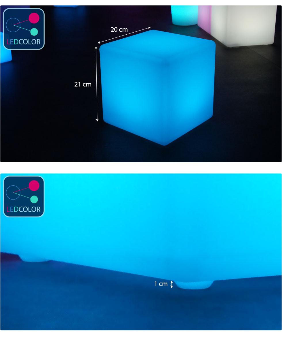 cube lumineux multicolore sans fil cube led 20 cm 60. Black Bedroom Furniture Sets. Home Design Ideas