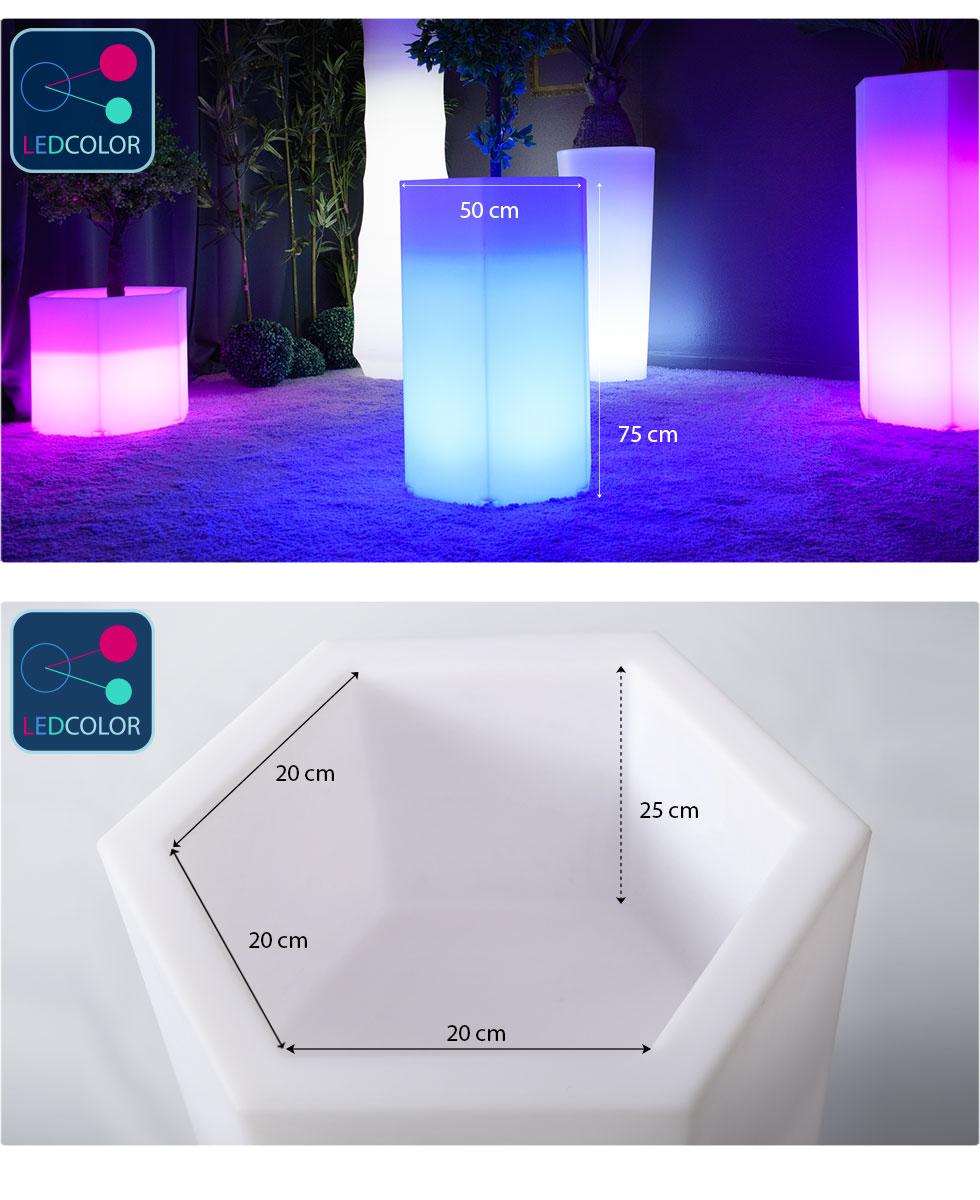 cotes et dimension pot lumineux hexagone m images