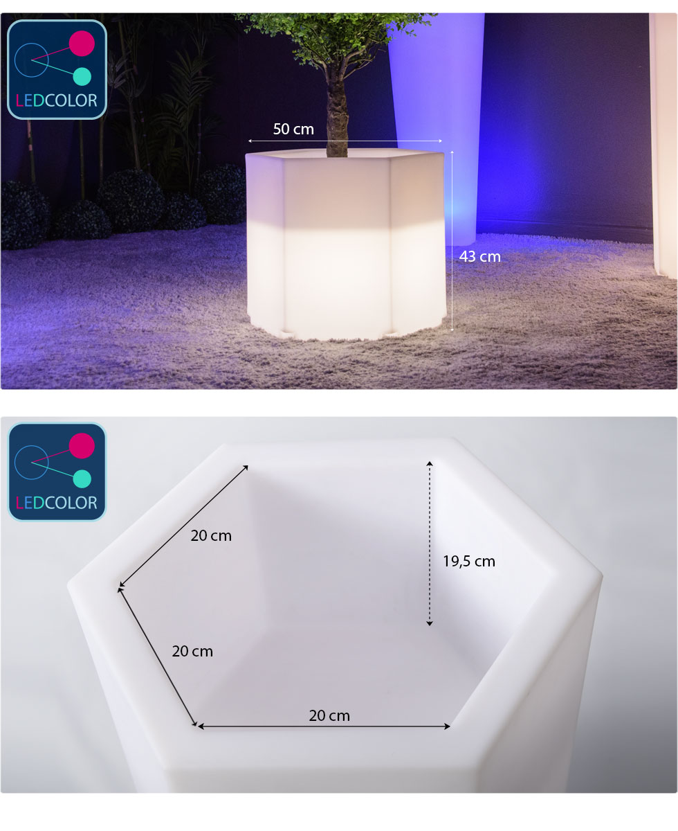 cotes et dimension pot lumineux HEXAGONE S images