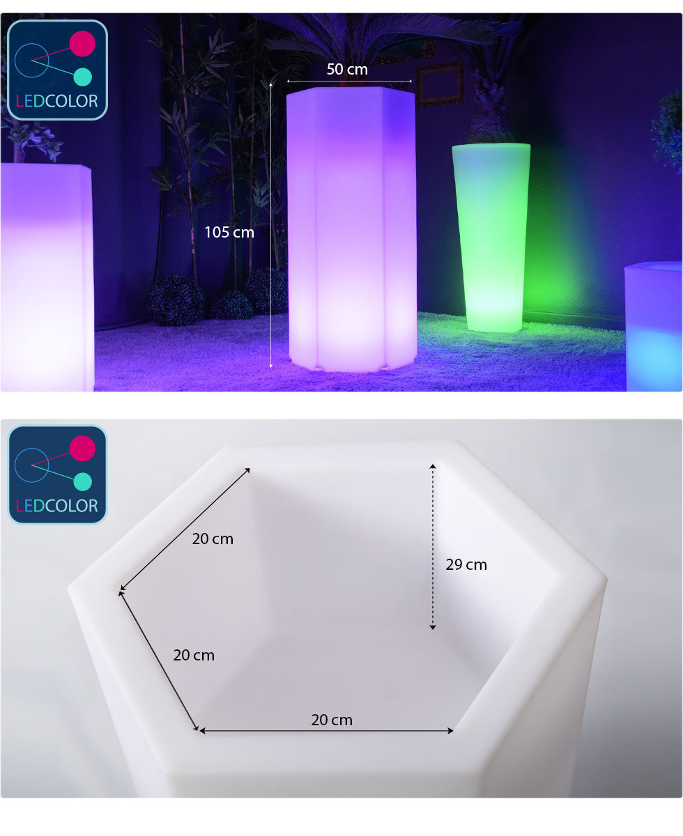 cotes et dimension pot lumineux hexagone xl images