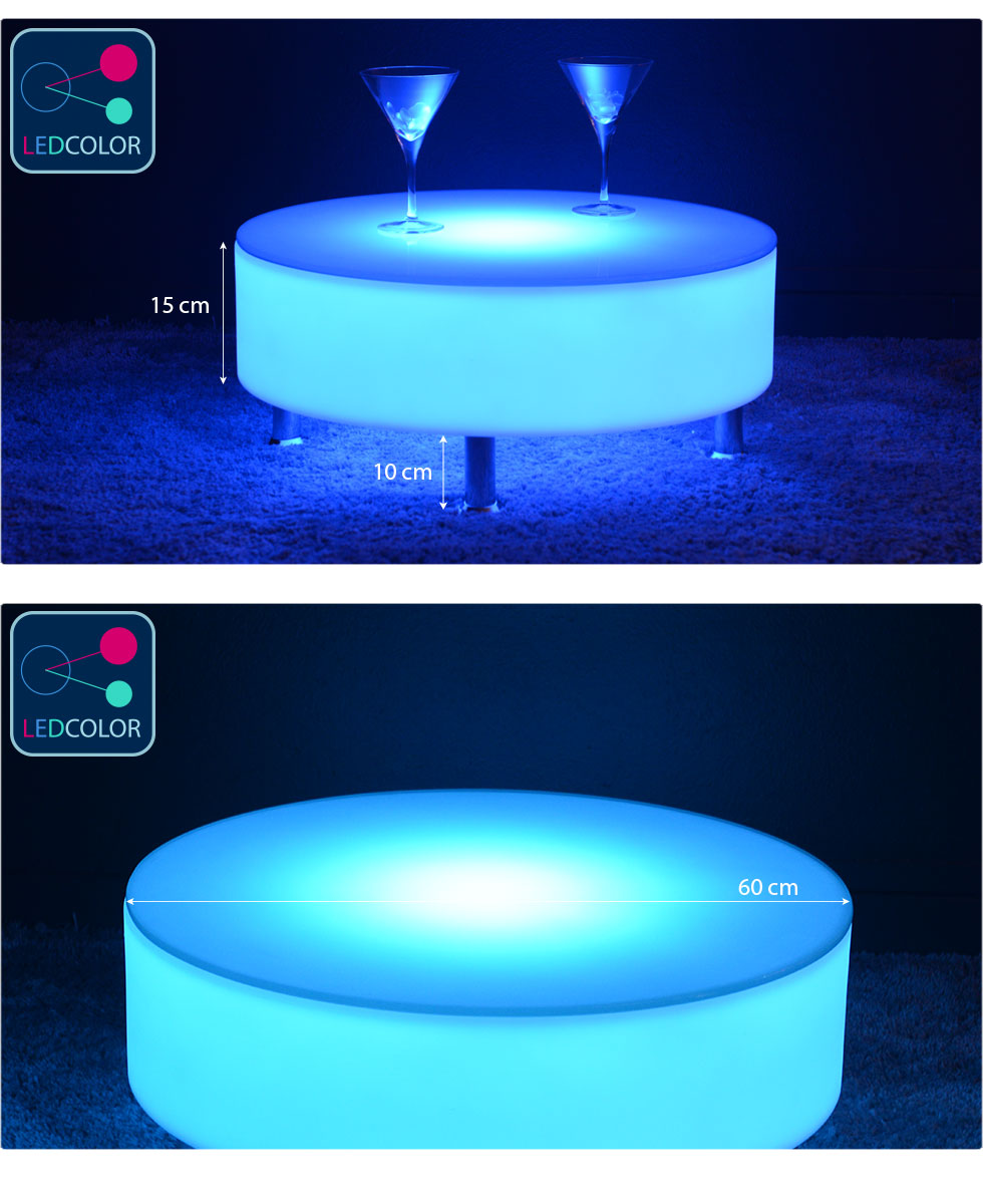 Table basse lumineuse led multicolore buckle - Fabriquer une table lumineuse led ...