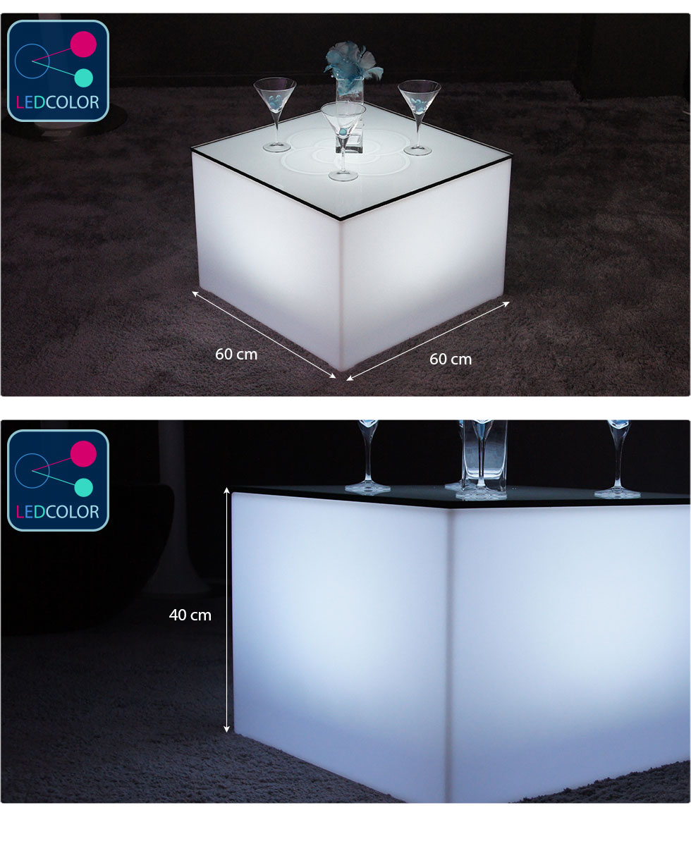table basse lumineuse led multicolore sans fil nelio. Black Bedroom Furniture Sets. Home Design Ideas