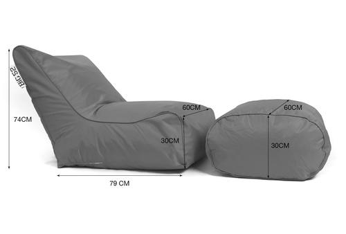 Fauteuil pouf BiG52 graphite avec repose pieds