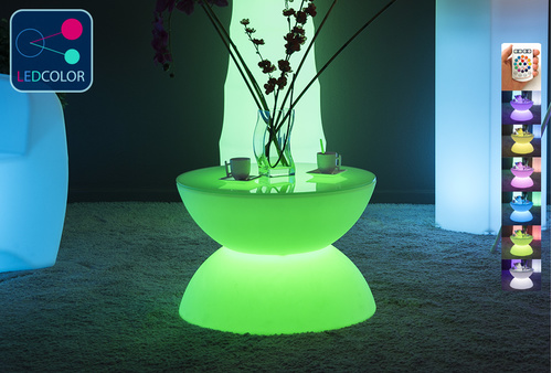table basse lumineuse led multicolore sans fil full moon. Black Bedroom Furniture Sets. Home Design Ideas