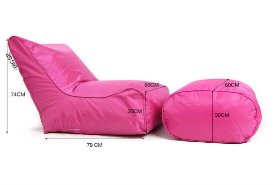 Fauteuil pouf BiG52 rose avec repose pieds