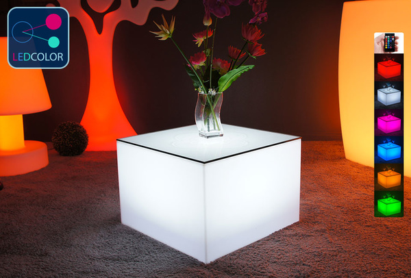 table basse lumineuse led multicolore sans fil 75. Black Bedroom Furniture Sets. Home Design Ideas