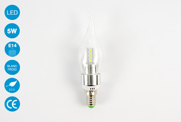 Ampoule LED E14 forme bougie 5 Watts Blanc Froid