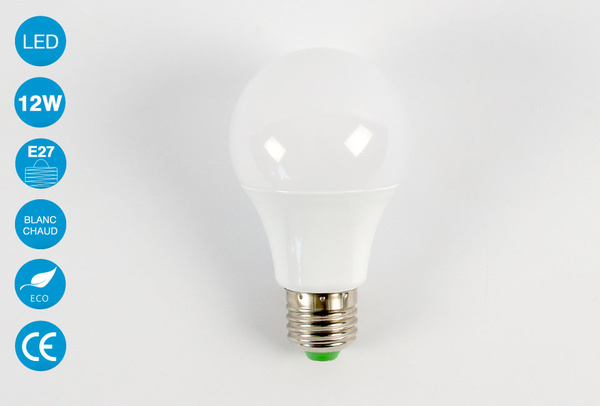Ampoule LED E27 12 Watts Blanc Chaud