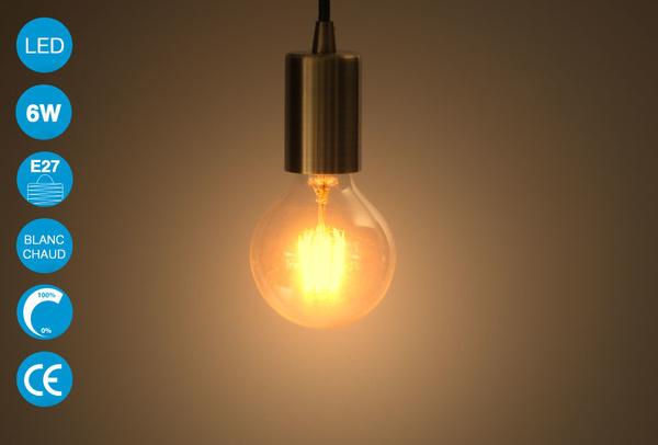 Ampoule LED vintage Edison 6W - Blanc chaud - G80
