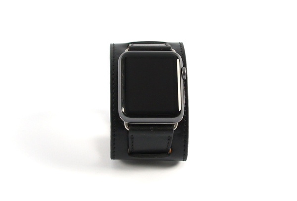 Bracelet en cuir noir Apple Watch 42mm
