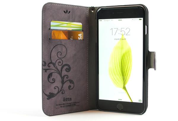Étui portefeuille en simili cuir violet pour iPhone 6S Plus et iPhone 6 Plus