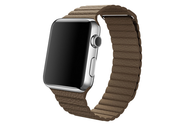 Bracelet simili cuir magnétique marron Apple Watch 42 mm - S/M et M/L
