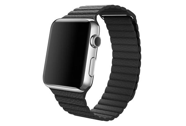 Bracelet simili cuir magnétique noir Apple Watch 42 mm - S/M et M/L