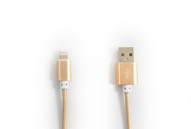 Cable couleur Or lightning pour iPhone et iPad