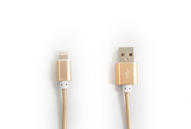 Cable couleur Or lightning pour iPhone et iPad
