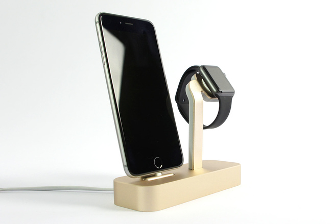 Dock Steel Or pour iPhone et Apple Watch