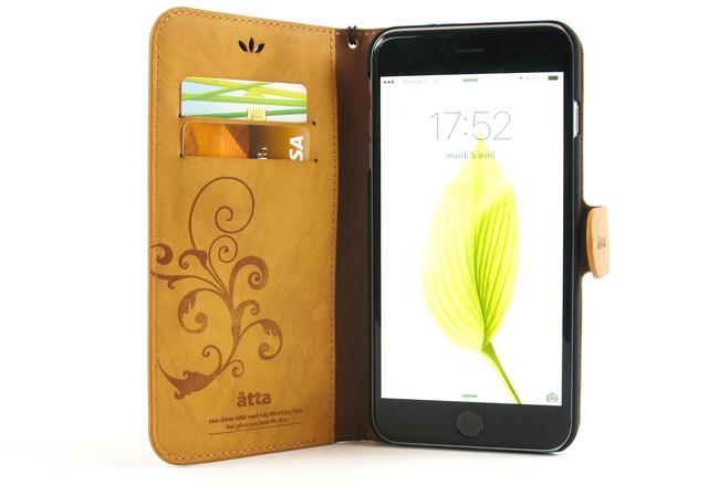 Étui portefeuille en simili cuir camel pour iPhone 6S Plus et iPhone 6 Plus