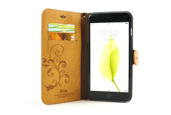Étui portefeuille en simili cuir camel pour iPhone 6S et iPhone 6