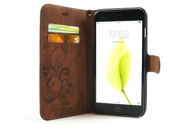 Étui portefeuille en simili cuir marron pour iPhone 6S Plus et iPhone 6 Plus