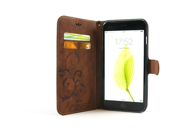 Étui portefeuille en simili cuir marron pour iPhone SE, iPhone 5 et iPhone 5S