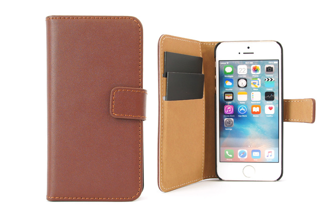 Étui portefeuille Soft en simili cuir marron pour iPhone SE, iPhone 5 et iPhone 5S